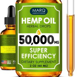 Hemp Oil Drops (50000MG) – Best Natural Hemp Seed Oil – Premium Colorado Seed Extract – Only Natural Ingredients – for Pain and Inflammation Relief, Reduces Stress and Anxiety, Provides Restful Sleep