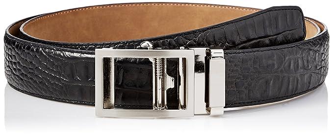 Greg Norman Men's Croco Grain Adjustable Comfort Fit Ratchet Belt, Black, One Size