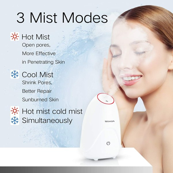 Facial Steamer, 3-in-1 Nano Ionic Facial Steamer Professional Facial with Hot and Cold Mist Humidifier, face steamer for facial 30 Min Steam, facial steamer…