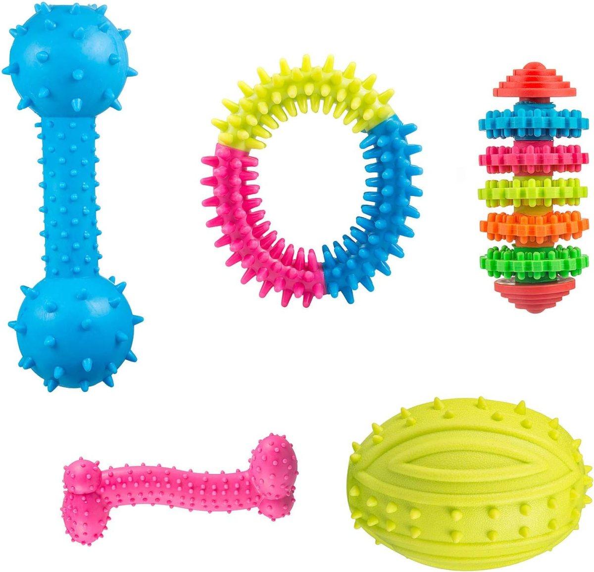 Juguetes para Perros, Pack de 5 Goma Juguetes - Ideal para Morder y Masticar, Divertido Animal Conjuntos Mascota Interactiva