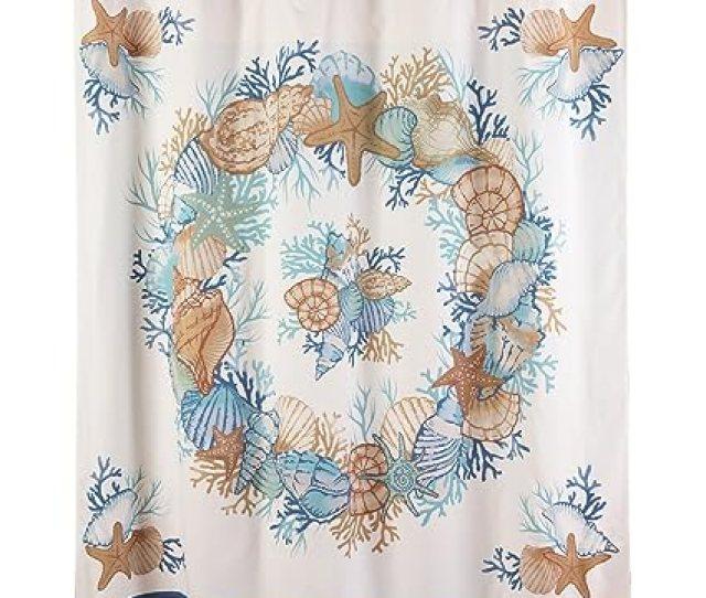 Collections Etc Seasshower Curtain Beach Bathroom Decor