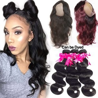 Pizazz Pre Plucked 360 Lace Frontal Closure With Bundles Peruvian Body Wave 3 Bundles With 360 Frontal Closure With Baby Hair (12 14 16+10inch 360)