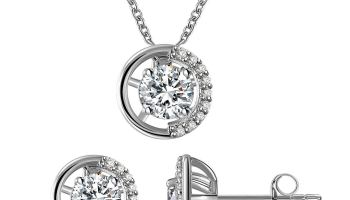 5201c1a5f5871 Gercia 14K Rose Gold Jewelry Set 5A Cubic Zirconia Pendant Necklace and  Stud Earrings Round Necklace