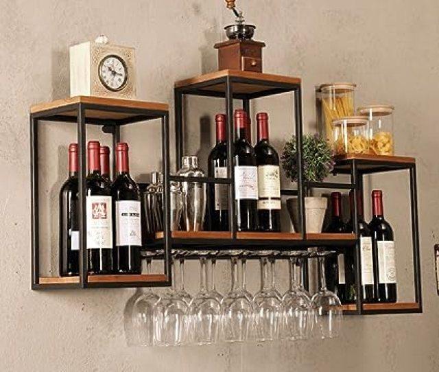 Industrial Wall Mounted Loft Retro Iron Metal Wine Rack Shelf Wine Bottle Glass Rack