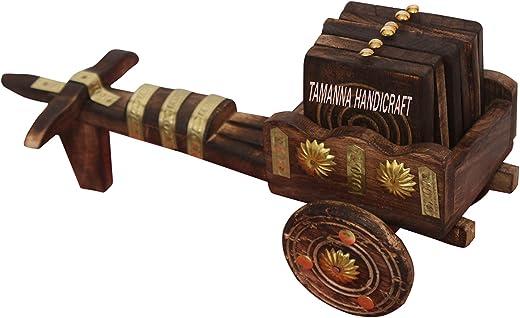 Tamanna handicrafts Wooden Antique Beautiful Wooden Bullock Cart Shaped Tea Coffee Coaster Set - Home Decor Handicrafts