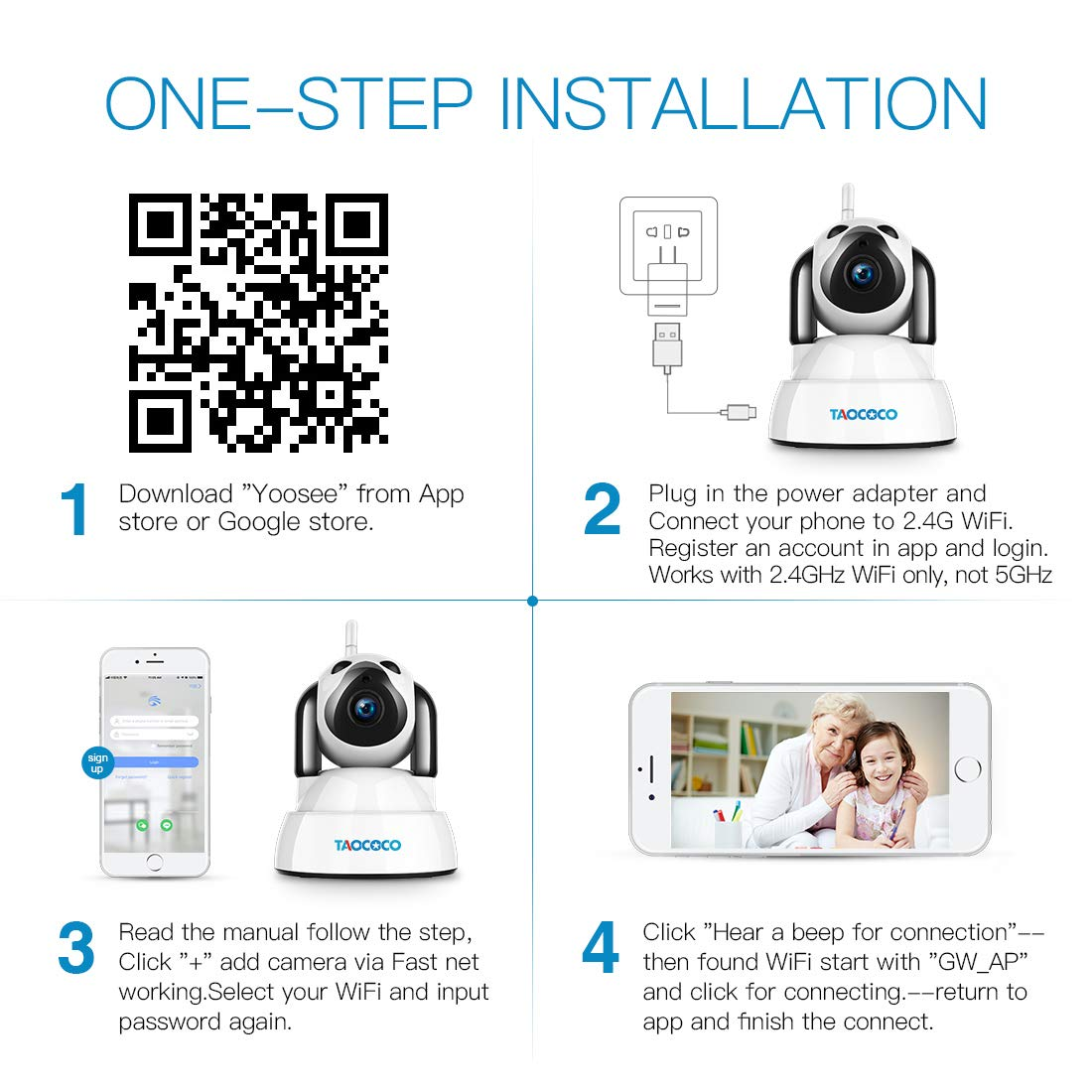 TAOCOCO Dog Pet Camera, 1080P FHD Cat WiFi IP Camera, Wireless Security  Camera, Home Baby Monitor Nanny Cam with Smart Pan/Tilt/Zoom, Motion
