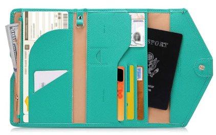Zoppen Mulit-purpose Rfid Blocking Travel Passport Wallet (Ver.4) Tri-fold Document Organizer Holder, Baby Green