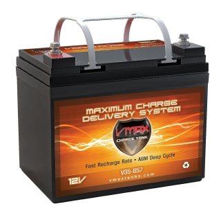 VMAX857 AGM Battery 12 Volt 35AH Marine Deep Cycle HI Performance Battery ideal for boats and 18-35lb minn kota, minnkota, cobra, sevylor