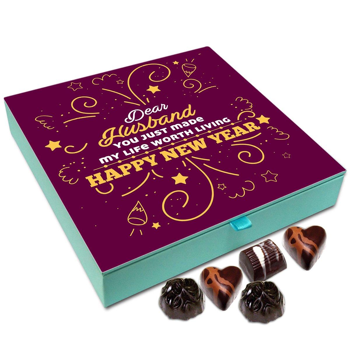 Chocholik New Year Gift Box – Happy New Year Dear Husband Chocolate Box – 9pc