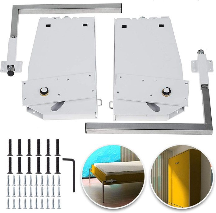 Amazon Com Happybuy Diy Murphy Bed Hardware Kit Vertical Mounting Wall Bed Springs Mechanism Heavy Duty Bed Support Hardware Diy Kit For King Queen Bed Vertical Furniture Decor