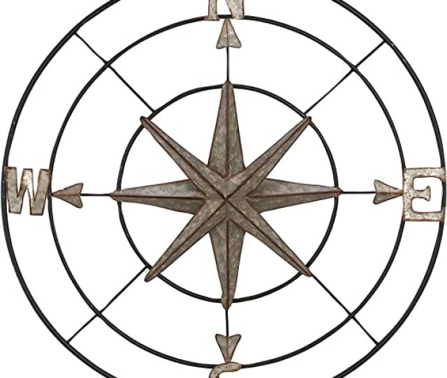 Amazon Com Deco   Coastal Round Iron Compass Wall Decor