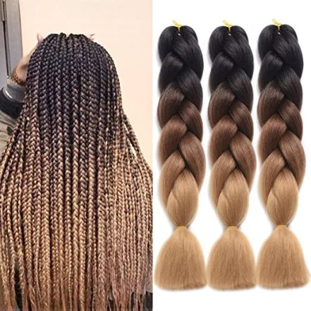 "Ding Dian Synthetic Braiding Hair Extensions Kanekalon Hair Ombre Twist Braiding Hair High Temperature Hair Extensions 3Pcs/Lot 100g/Pc 24"" (60CM)… (Black-dark brown-light brown)"