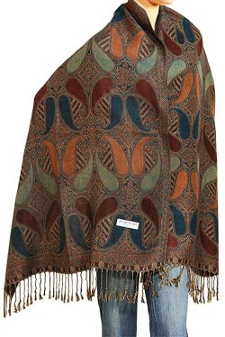 "Falari Women's Woven Pashmina Shawl Wrap Scarf 80"" x 27"" Brown Navy"
