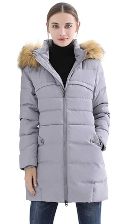 Obosoyo Women's Hooded Thickened Long Down Jacket Winter Down Parka Puffer Jacket Grey M