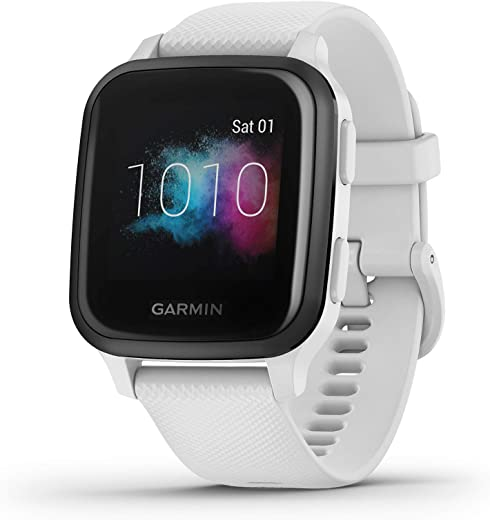 Garmin Venu Sq Music, GPS Smartwatch with Bright Touchscreen Display, Features Music and Up to 6 Days of Battery Life, White and Slate