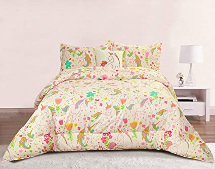Unicorn Girls Bedding Full Queen  Piece Comforter Bed Set Pastel Heart Floral Polka
