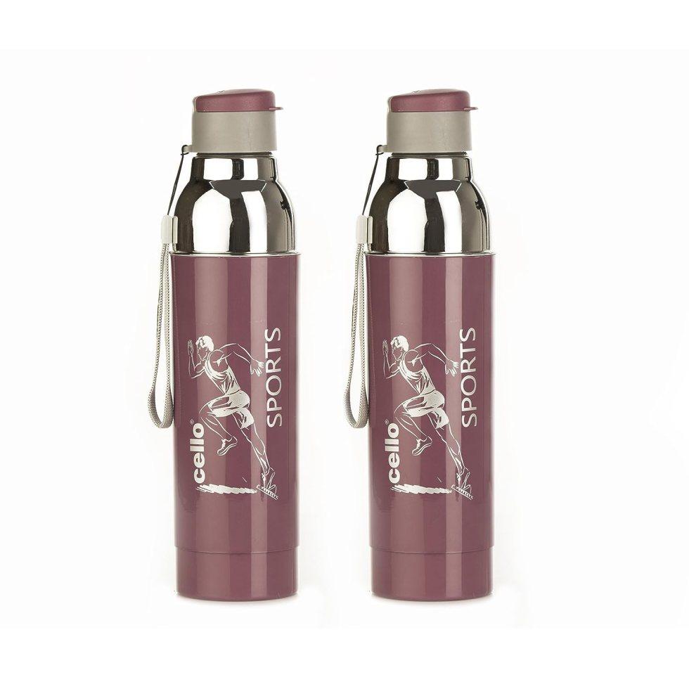 Cello Racer Plastic Sports Bottle Set, 900ml, Set of 2, Purple