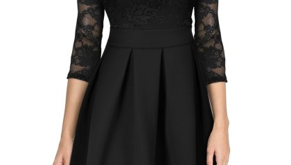 ba96006a4a MISSMAY Women s Vintage Floral Lace Half Sleeve Boat Neck Cocktail ...