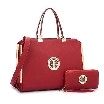 MMK collection Women Fashion Matching Satchel handbags with wallet(6900)~Designer Purse ~Multi Pocket ~ Beautiful Designer Handbag Set (XL-09-6900W-Burgundy)