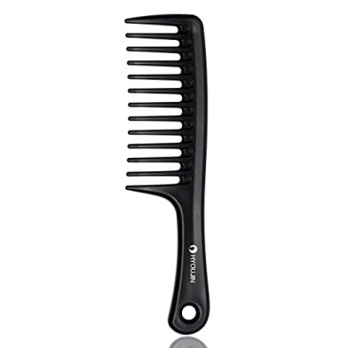 HYOUJIN Black Wide Tooth Comb Detangling Hair Brush,Paddle Hair Comb,Care Handgrip Comb-Best Styling Comb for Long