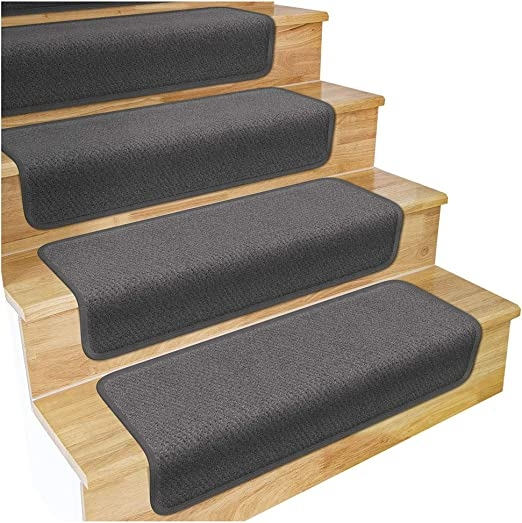 Amazon Com House Home And More Set Of 12 Overstep Attachable   Carpet For Stairs Amazon   Beige   Non Slip   Flooring   Self Adhesive   Carpet Tiles