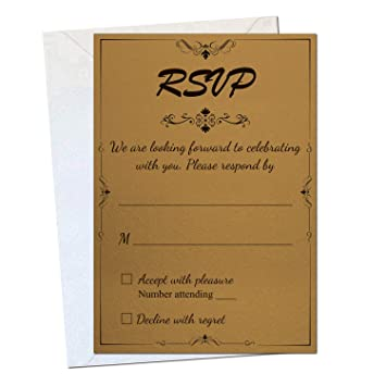 50 Gold Rsvp Cards Wedding Return Fill In Reply For Parties And