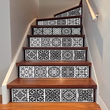 Amazon Com Uphome 6 Pcs Floral Tile Self Adhesive Stair Stickers   Stairs Tiles Design For Home   Outside Staircase   Stair Tread   Color   Exterior   Custom