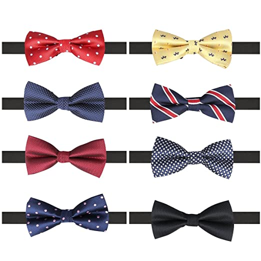 Image result for AUSKY 8 PACKS Elegant Adjustable Pre-tied bow ties for Men Boys in Different Colors