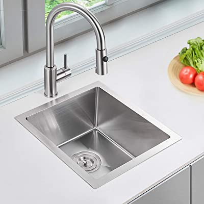 Buy Bar Sink Rovate 15 X 17 Inch Undermount Bar Or Prep Kitchen Sink Handmade Single Bowl T 304 Stainless Steel Sink With Strainer Online In Indonesia B08t66slpw