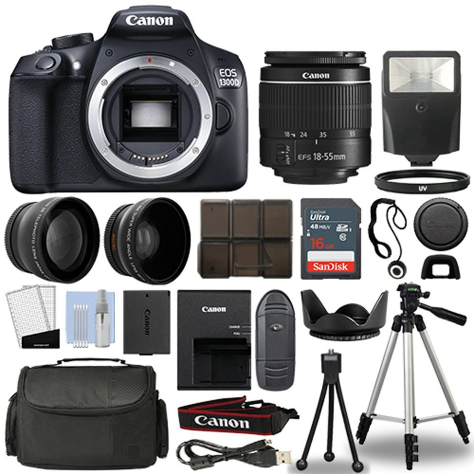 Canon 1300d/Rebel T6 Cámara réflex digital + 18 – 55 mm 3 Lente Kit + 16 GB parte superior Value Bundle – 2 x Telefoto Lente + Lente Gran Angular + 3 piezas Kit de filtros + Trípode + Parasol + flash + más. – Versión Internacionalhttps://amzn.to/2QjnenE