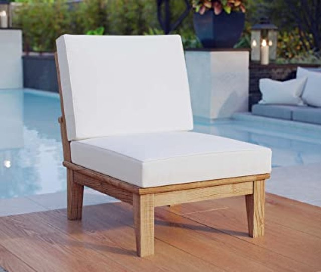 Amazon Com Modway Marina Teak Wood Outdoor Patio Armless Chair In Natural White Kitchen Dining
