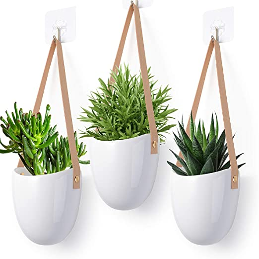 Herefun Hanging Planters Wall Planters Vases Set Of 3 Hanging Plant Pots 12 X 11 5 Cm Hanging Planter Holder Indoor Outdoor Succulent Flower Pots With Leather Strap Amazon Co Uk Garden Outdoors
