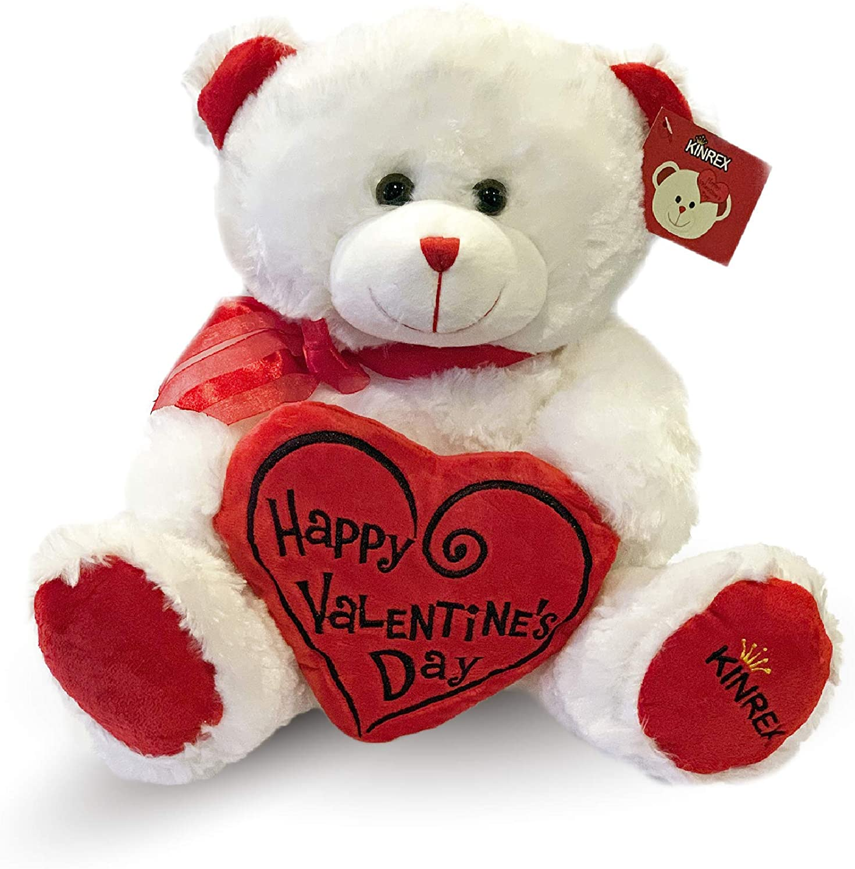 Amazon Com Kinrex Happy Valentine S Day Stuffed Teddy Bear Teddy Bear To Gift For Valentine S Day For Couples White Valentines Teddy Bear With Heart Pillow 11 81 30 Cm Home Kitchen