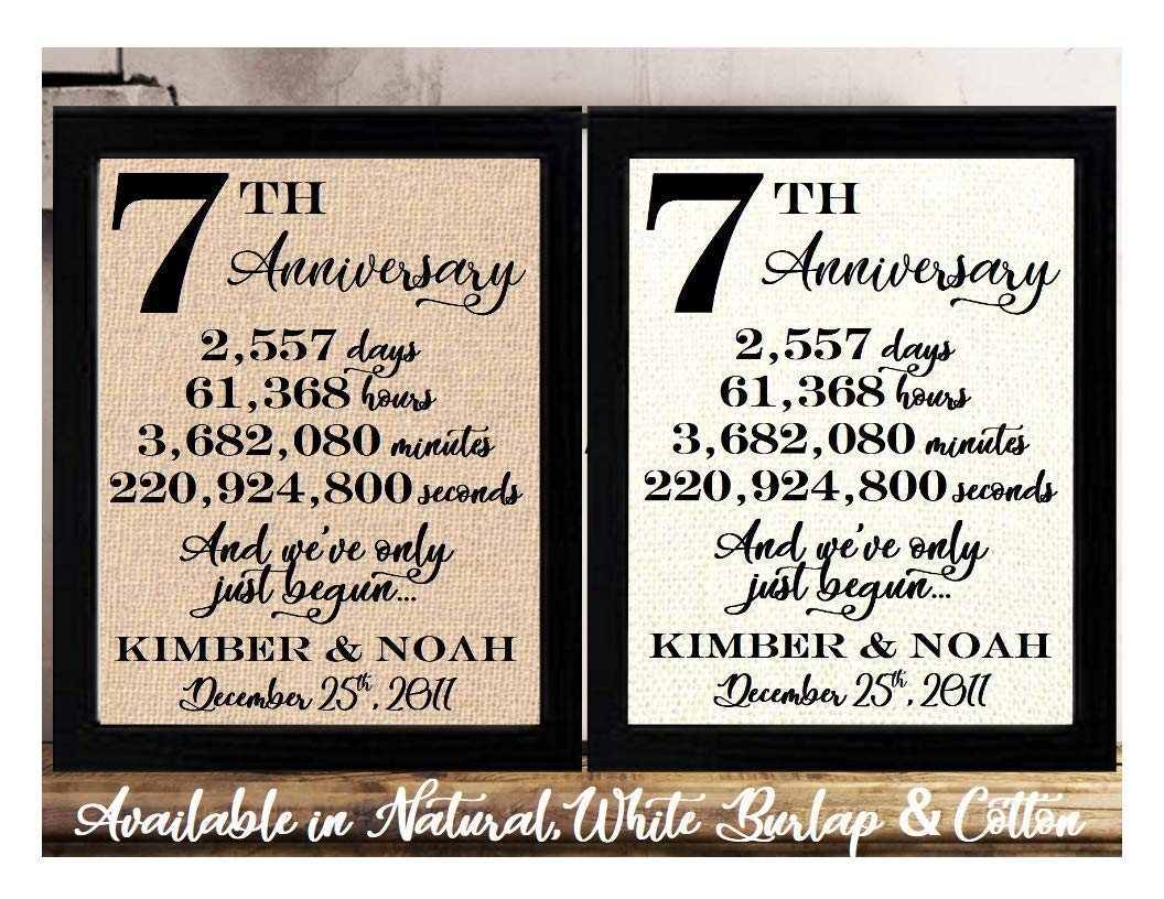 Amazon Com Framed 8x10 Personalized 7th Anniversary 7 Years Together 7 Years Of Marriage 7th Wedding Anniversary For Her Or Him 7th Anniversary Gifts For Couple 7 Year Anniversary Seventh Anniversary Gifts Handmade