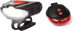 Inditradition Combo of Bicycle Bike Front Headlight (Rechargeable) & Laser LED Rear Tail Light