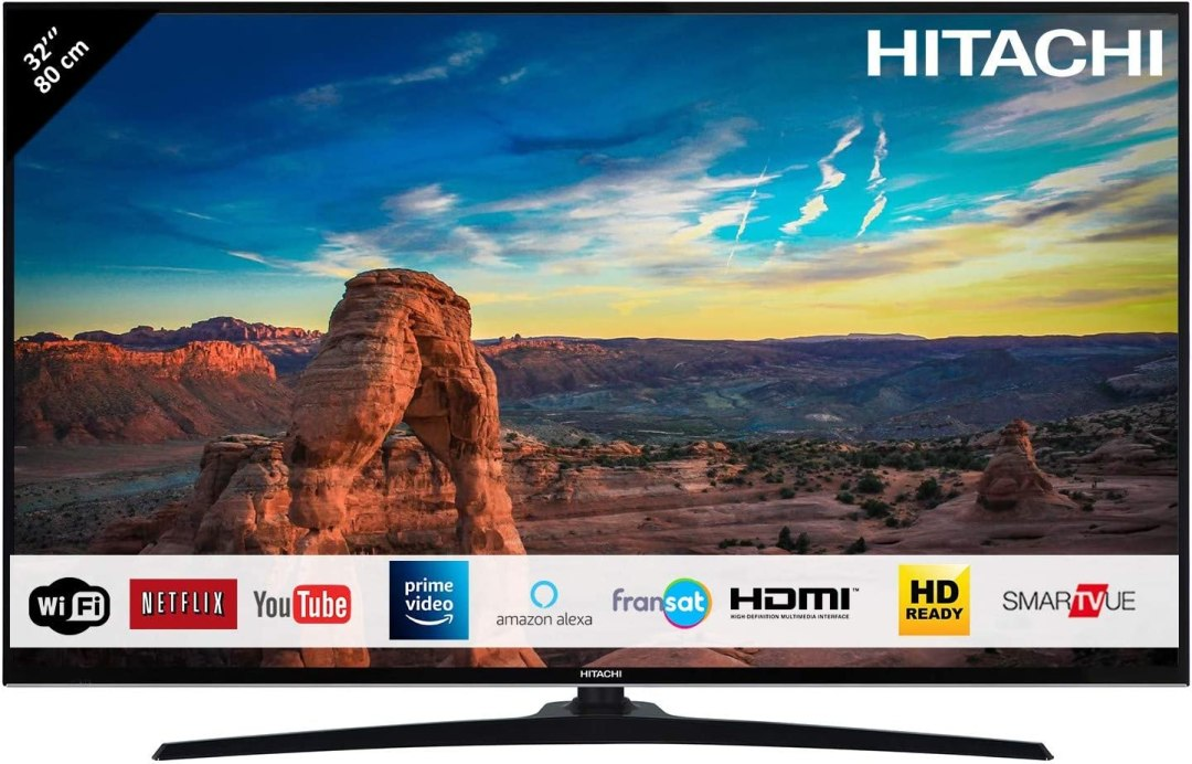 "HITACHI 32HE2000 Téléviseur LED 32"" 80,01cm HD / Smart TV: Netflix, Youtube, Prime / Wifi / 2 HDMI / USB"
