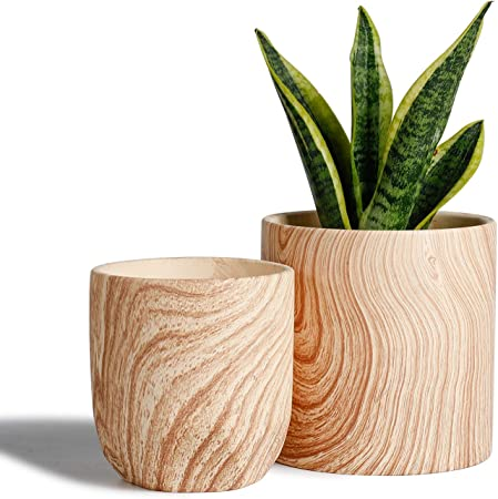 Amazon Com Potey 053701 Ceramic Planter Flowerpots 6 4 8 Inch Modern Decorative Plant Pot Containers For Aloe Plants Flower Home Decor Indoor Natural Wood Texture Plant Not Included Garden Outdoor