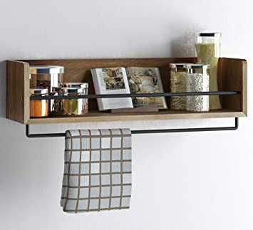 Rustic Kitchen Wood Wall Shelf With Metal Rail Also Multi Use Can Be Used As A Spice Rack Living Room Or Bedroom Wall Shelf Amazon In Home Kitchen