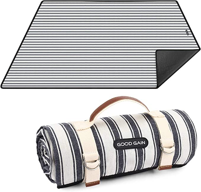 Waterproof Picnic Blanket Portable with Carry Strap for Beach Mat or Family Outdoor Camping Party, Large Foldable Sand Proof for Wet Grass Hiking or Kids Playground