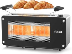 CUKOR 2-Slice Long Slot Toaster with Window, Bagel Toaster with Warm Rack and 7 Bread Shade Settings, Glass Toaster with Automatic Lifting