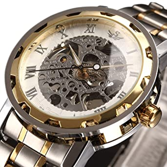 Image result for Watch,Mens Watch,Luxury Classic Skeleton Mechanical Stainless Steel Watch With Link Bracelet,Dress Automatic Wrist Hand-Wind Watch
