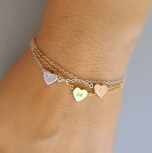 unique jewelry findings, bracelet with small hearts initials