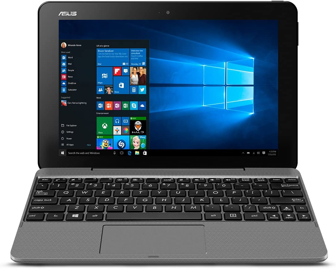"Asus T103HA-D4-GR 10.1"" Transformer Mini, 2 in 1 Touchscreen Laptop, Intel Quad-Core, 128GB SSD Slate Grey"