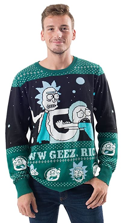 Rick and Morty Alien Aww Geez Rick Christmas Sweater (Adult Large)