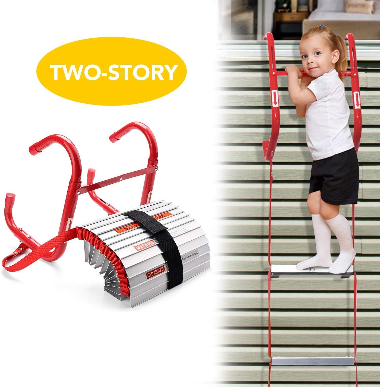Delxo Fire Escape Ladder 2 Story Portable Emergency Escape Ladder All New Anti Slip Step Easy To Deploy Easy To Store 13 Feet Portable Fire Escape Ladder Amazon Com