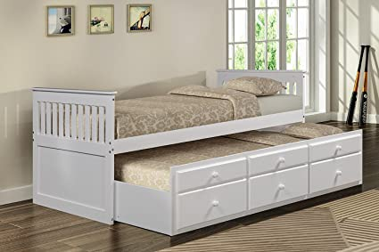 Merax Captains Platform Storage Bed With Trundle Bed And Drawers Twin White