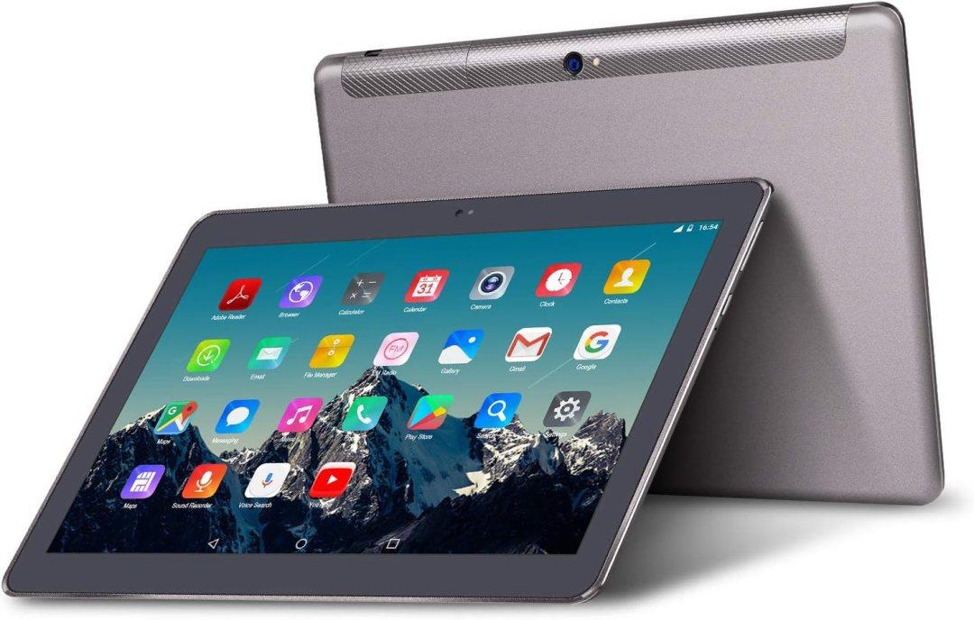 Tablette Tactile 10 Pouces - TOSCIDO Android 9.0 Certifié par Google GMS, Quad Core,64 Go Storage,4 Go de RAM,4G LTE Doule SIM,WiFi/Bluetooth/GPS/OTG,Double Haut-Parleur Stéréo - Gris
