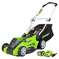 GreenWorks 25322 G-MAX 40V 16-Inch Cordless Lawn Mower, (1) 4AH Battery and a Charger Included