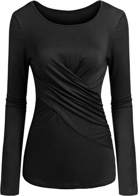 Zeagoo Women's Round Neck T-Shirt Ruched Long Sleeve Blouse Black