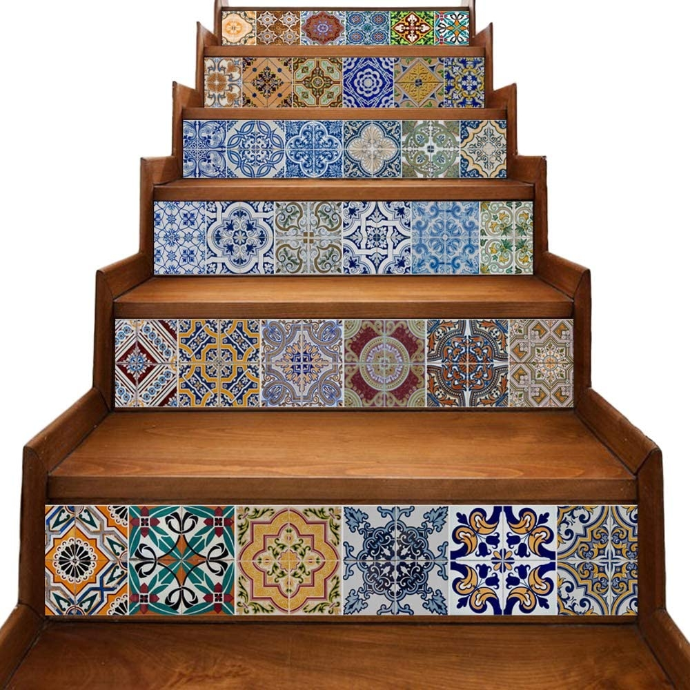 Yazi Stair Stickers Decals Peel And Stick Viny Tile Backsplash   Wood And Tile Stairs   Rocell Living Room   Tile Floor   Basement   Quarter Round Stair Hardwood   White